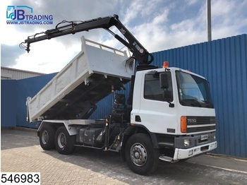 Kiper DAF 75 CF 320 6x4, EURO 2, Hiab crane 2004, Steel suspension, Manual, Remote control